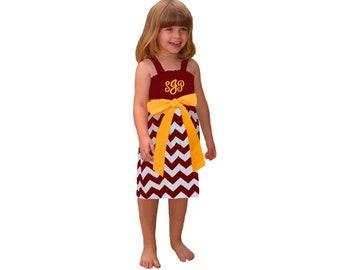 Deep Red + Yellow Chevron Game Day Dress - Girls
