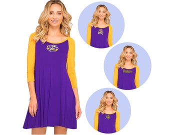 Purple + Gold Game Day Dress- LSU, ECU, Washington Huskies, Vikings