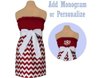 Deep Red + White Chevron Game Day Dress