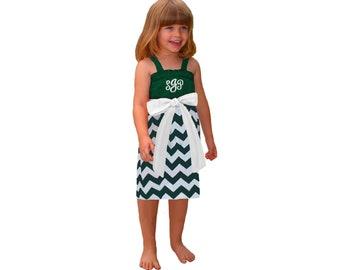 Green + White Chevron Game Day Dress - Girls