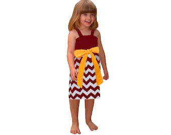 Deep Red + Yellow Chevron Game Day Dress - Girls