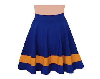 Dark Royal Blue + Gold Cheerleader Style Skirt