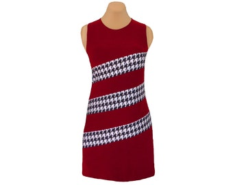 Crimson + Houndstooth Diagonal Stripe Dress