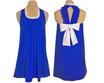 Blue + White Back Bow Dress