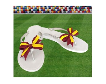 Deep Red + Yellow Bow Jelly Sandals