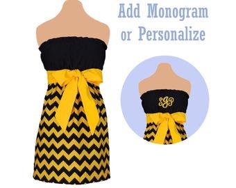 Black + Yellow Chevron Game Day Dress