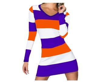Orange and Purple Stripe Game Day Dress