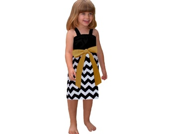 Black + Gold Chevron Game Day Dress - Girls