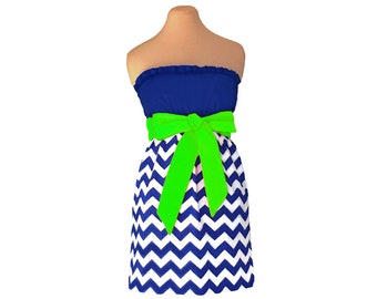 Blue and Bright Green Chevron Game Day Dress