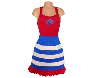 Red + Blue Stripe Scuba Skirt andMonogram Tank