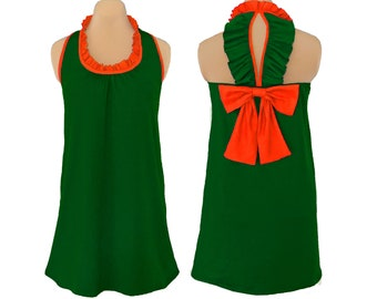 Green and Orange Back Bow Dress