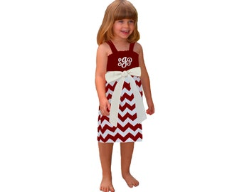 Deep Red + White Chevron Game Day Dress - Girls