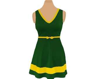 Green + Yellow Skater Dress
