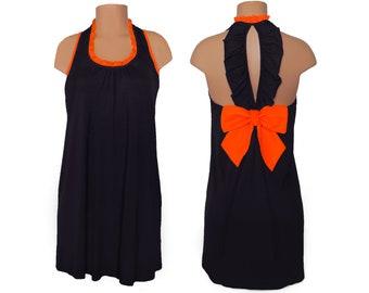 Black + Orange Back Bow Dress