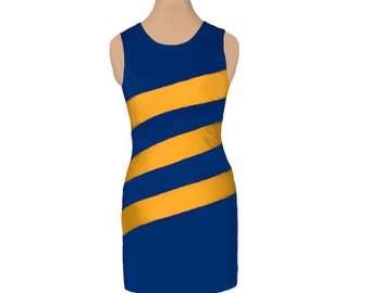Blue or Navy + Gold Diagonal Stripe Dress