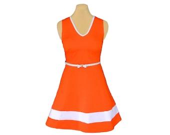 Orange + White Skater Dress