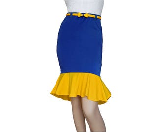 Blue or Navy + Yellow Mermaid Skirt