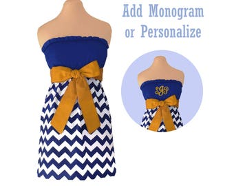 Blue or Navy + Gold Chevron Game Day Dress
