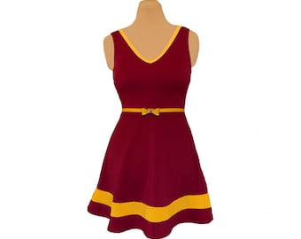 Deep Red + Yellow Skater Dress