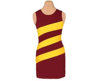 Deep Red + Yellow Diagonal Stripe Dress