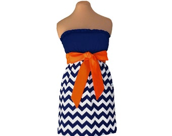 Orange + Navy Chevron Game Day Dress
