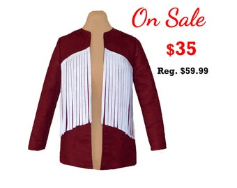 Deep Red Suede Jacket with White Fringe