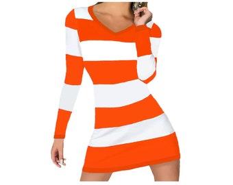 Orange and White Stripe Game Day Dress