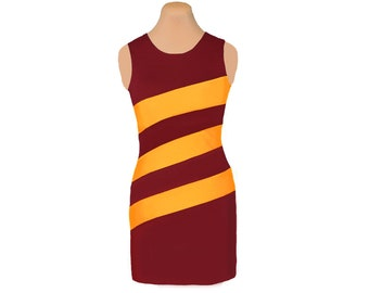 Deep Red + Yellow Diagonal Stripe Dress