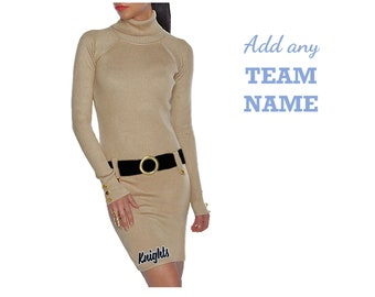 Gold + Black Sweater Dress with Team Name