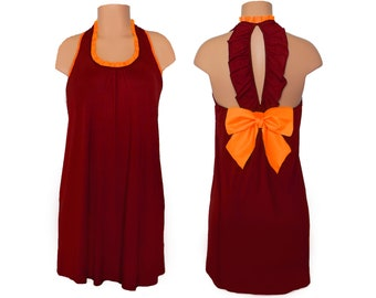 Maroon and Orange Back Bow Dress