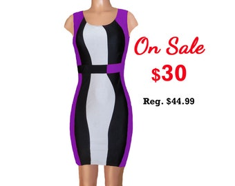 Purple + Black Color Block Dress