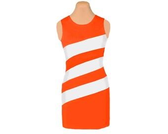 Orange + White Diagonal Stripe Dress
