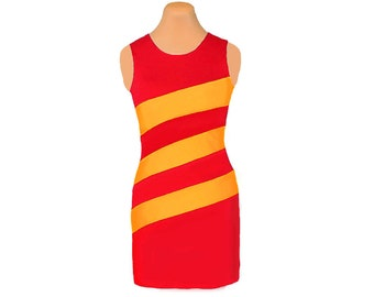 Red and Golden Yellow Diagonal Stripe Dress