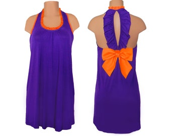 Purple + Orange Back Bow Dress