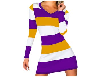LSU, ECU, SFSU, Washington Huskies, Western Illinois, Vikings, Lakers Stripe Game Day Dress