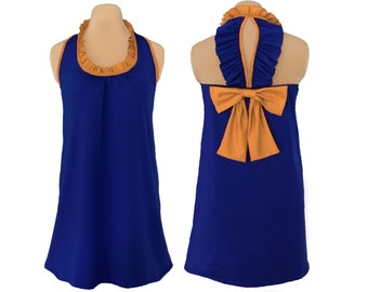 Blue or Navy + Gold Back Bow Dress