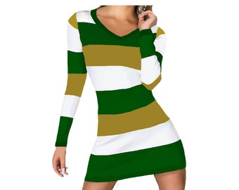 Green and Gold Stripe Game Day Dress