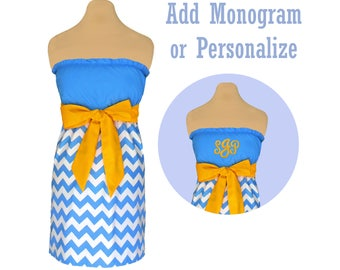 Light Blue + Bright Gold Chevron Game Day Dress
