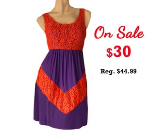 Purple + Orange Lace Chevron Dress