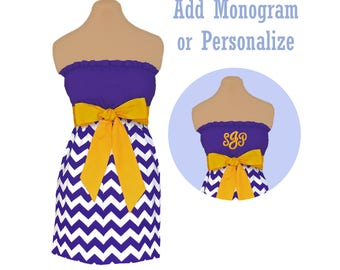 Purple + Bright Gold Chevron Game Day Dress