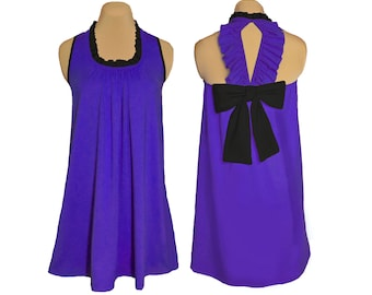 Purple + Black Back Bow Dress