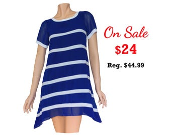 Blue and White High-low Chiffon Dress