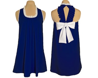 Navy + White Back Bow Dress