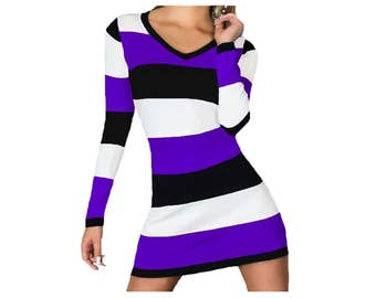Purple and Black Stripe Game Day Dress