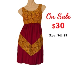 Deep Red + Gold Lace Chevron Dress