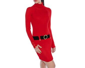 Red + Black Sweater Dress