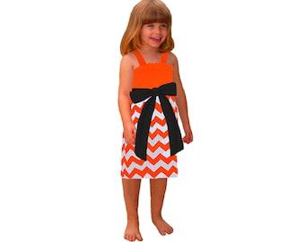 Orange + Black Chevron Game Day Dress - Girls