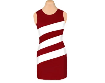 Deep Red + White Diagonal Stripe Dress