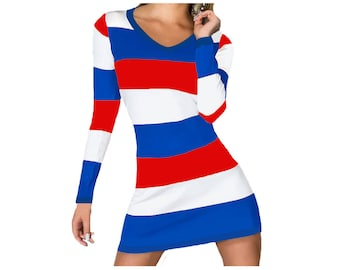 FAU, SMU, SCSU, Louisiana Tech, Bills, Giants, Cubs, Rangers, Phillies, Pistons Stripe Game Day Dress