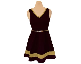 Black + Gold Skater Dress